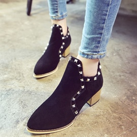 Ericdress Rivet Suede Square Heel Ankle Boots