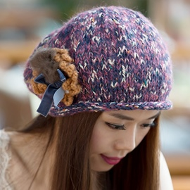 Ericdress Flower Decorated Mixed Color Kintted Hat