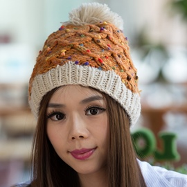 Ericdress Pompon Design Colorful Kintted Hat