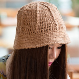 Ericdress Pure Color Knitted Bucket Hat