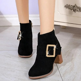 Ericdress Suede Buckles Chunky Heel Ankle Boots