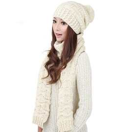 Ericdress Warm Knitted Hat and Scarf