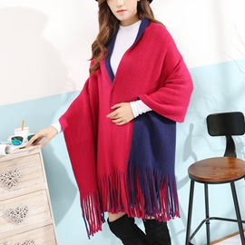 Ericdress Double Color Design Tassels Scarf