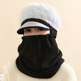 Ericdress Cute Warm Color Block Fur Hat with Mask