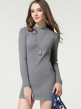 Ericdress Knitting Weave Cowl-Neck Sweater Dress
