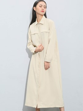 Ericdress Apricot Tie Bow Front Long Blouse