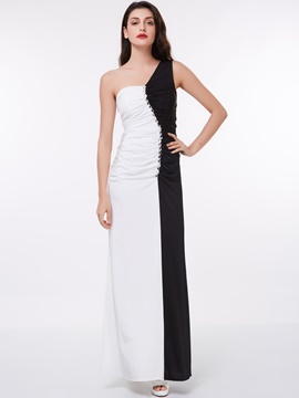 Ericdress Classic Black and White Pleats Beaded One Shoulder Ankle Length Evening Dress