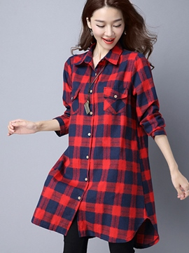 Ericdress Plaid Single-Breasted Loose Blouse