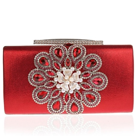 Ericdress Shiny Diamante Pearl Flower Evening Clutch