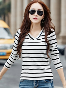 Ericdress V-Neck Stripe Casual T-Shirt
