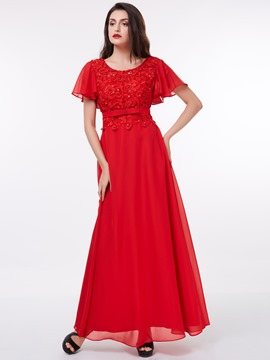 Ericdres A-Line Scoop Short Sleeves Lace Sequins Floor-Length Evening Dress