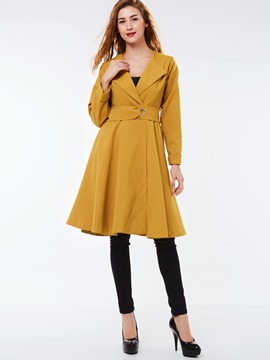 Ericdress Solid Color Slim Turn Down Wave Cut Trench Coat