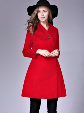 Ericdress Solid Color V-Neck Slim Coat