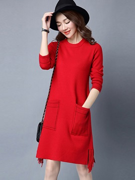 Ericdress Pocket Patchwork Tassel Color Block Casual Dress