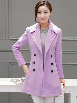 Ericdress Double-Breasted Polo Slim Coat