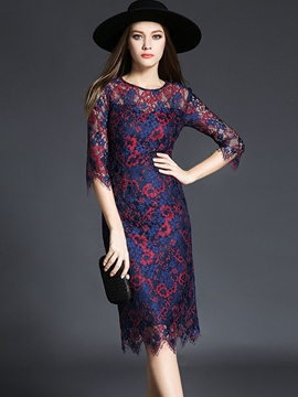Ericdress Lace Hollow Round Collar Lace Dres