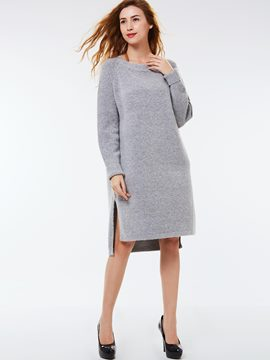 Ericdress Solid Color Round Collar Split Casual Dress