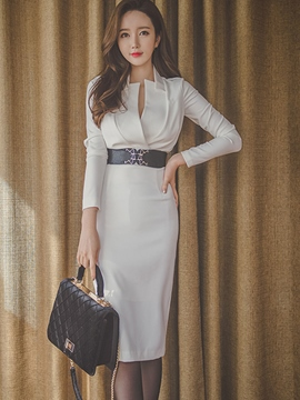 Ericdress Double-Layer Plain Belt Sheath Dress