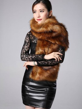 Ericdress Solid Color Faux Fur Cape