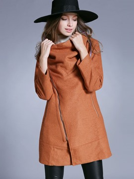 Ericdress Asymmetric Straight Coat