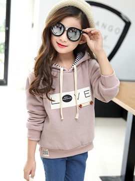 Ericdress Letter Button Girls Hoodie