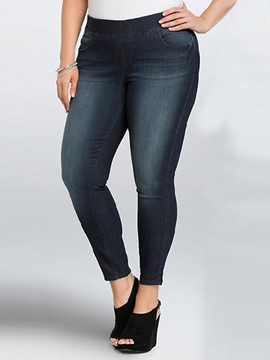 Ericdress Solid Color Plus Size Jeans