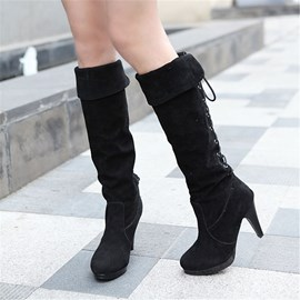 Ericdress Suede Back Lace up Platform Knee High Boots