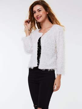 Ericdress White Cardigan Knitwear