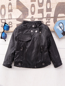 Ericdress Plain zipper PU Boys Jacket