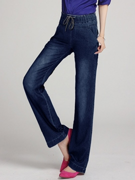 Ericdress Solid Color Straight Wide Legs Jeans