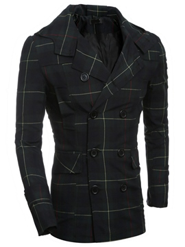 Ericdress Double-Breasted Plaid Hood Vogue Slim Men's Jacket
