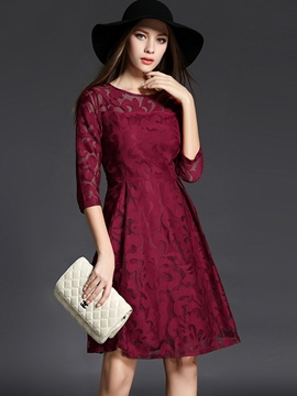 Ericdress Mesh See-Through Embroidery Patchwork Casual Dress
