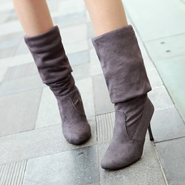 Ericdress Suede Stiletto Heel Knee High Boots