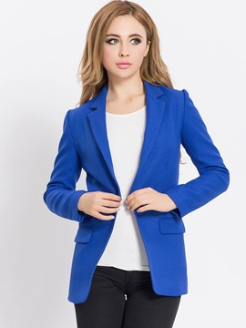 Ericdress Solid Color Slim Polo Wrapped Blazer