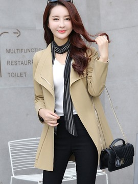 Ericdress Solid Color Bowknot Belt Trench Coat