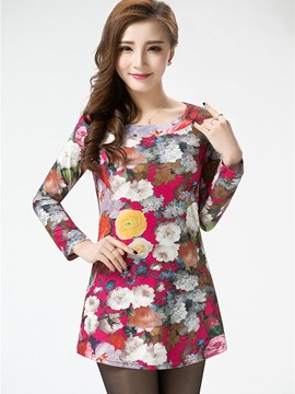 Ericdress Floral Print Plus Size Sweet T-Shirt