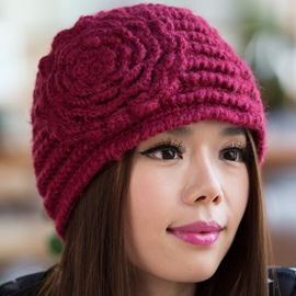 Ericdress Flower Embellished Hand Knitted Hat
