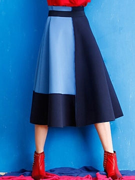 Ericdress Color Block A-Line Usual Skirt