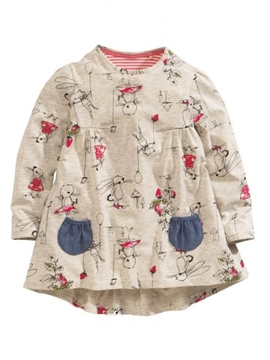 Ericdress Rabbit Print Cotton Girls Dress