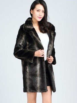 Ericdress Loose Faux Fur Gradient Coat
