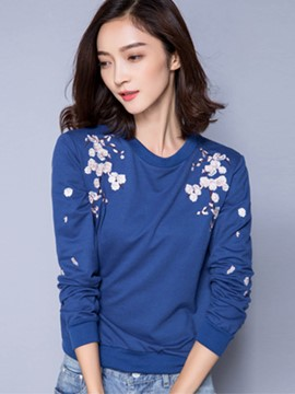 Ericdress Floral Embroidery Long Sleeve T-Shirt