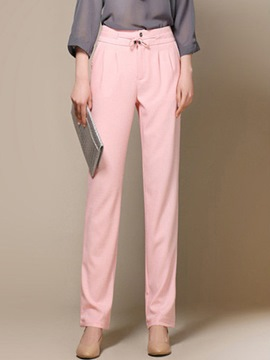 Ericdress Straight Solid Color Wide Legs Pants