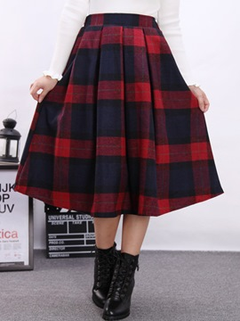Ericdress Sweet Vintage Plaid Usual Skirt