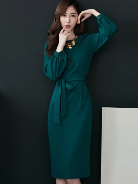Ericdress Lantern Sleeve Pleated Belt Sheath Dress