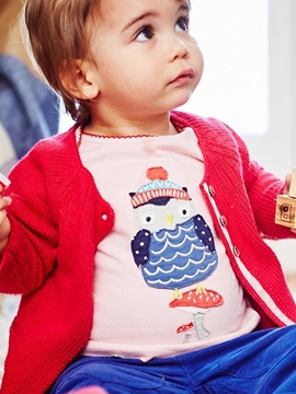 Ericdress Plain Bird Embroidery Baby Grils T-Shirt