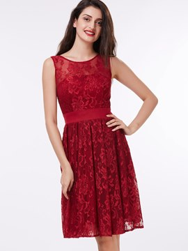 Ericdress A-Line Scoop Lace Sashes Knee-Length Cocktail Dress