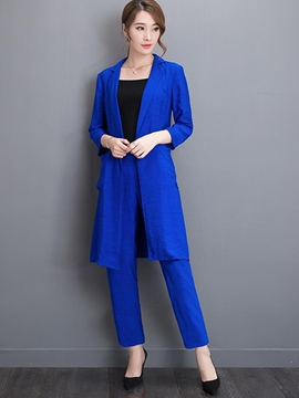 Ericdress Simple Long Blazer Two-Piece Leisure Suit