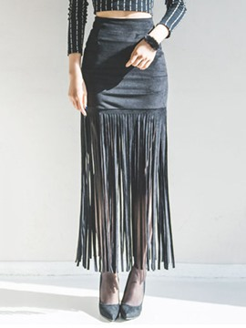 Ericdress Simple Tassel Column Skirt