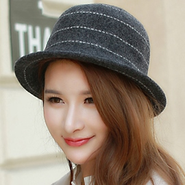 Ericdress Stripe Design Wool Fedora Hat