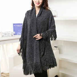 Ericdress Warm Pure Color Knitted Shawl